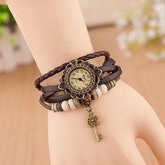 Retro Quarzuhr Armreif Leder Armbanduhr Damenuhr Uhr Kaffeebraun Schlüssel Braun - http://uhr.haus/sanwood/braun-retro-quarzuhr-armreif-leder-armbanduhr-3