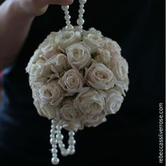 22flower girl kissing ball pomander spray roses pearls