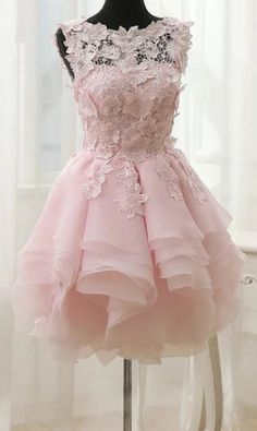 Princess Prom Dresses, 2019 A Line Scoop Organza With Applique Short/Mini Homecoming Dresses, Plus Size Formal Dresses and Plus Size Party Dresses are great for your next special Occassion at cheap affordable prices The Dress Outlet. Floral Homecoming Dresses, Hoco Dresses, Short Bridesmaid Dresses, Pretty Dresses, Sexy Dresses, Evening Dresses, Formal Dresses, Pink Dresses, Wedding Dresses