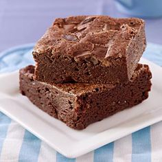 Brownies, One Bowl (Better for You) - These cakey brownies are moist and full of chocolate flavor, but low in calories and saturated fat because canola oil replaces butter.