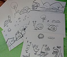 Primeiro passo com todos os desenhos feitos a mão do o livro infantil O Caracol e a Tartaruga.