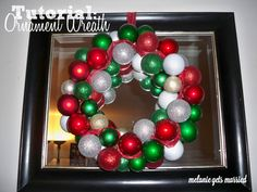 Ornament Wreath tutorial. All you need is a wire hanger!