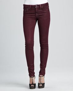Serena Maroon Glitter Skinny Jeans by True Religion at Neiman Marcus.