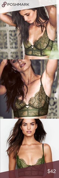 Victoria's Secret long line Lace Mini Bustier bra New with tags.  New Victoria's Secret  Very Sexy unlined long line Lace Mini Bustier  Color: green.  Size: 34C  *matching panty sold separate Victoria's Secret Intimates & Sleepwear Bras