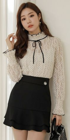 StyleOnme_See-through Polka Dot Lace Ribbon Tie Blouse Casual Asian Fashion, Korean Fashion, Kpop Fashion, Fashion Outfits, Look Formal, Lace Ribbon, Tie Blouse, Casual Elegance, Sweaters And Jeans