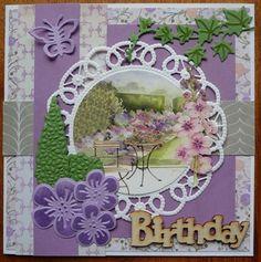 Een heerlijke bloementuin om in te zitten ....   als ik dan naar buiten kijk zie ik bijna geen bloemen in mijn tuin.   Toch nog maar e... Marianne Design Cards, Graphic 45, Doilies, Projects To Try, Birthdays, Card Making, Shabby, Cricut, Joy
