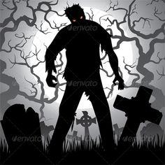 Halloween Background with Zombie - Halloween Seasons/Holidays