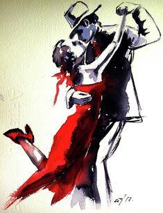 Lovely Dance Painting by Kovacs Anna Brigitta