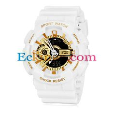 Men's Sport Style Dual Time Zones Gold Dial Rubber Band Wrist Watch (Assorted Colors) : Online Shopping for Watches, Toys & more