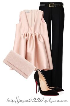 """""""Soft Pink and Black"""" by jaycee0220 ❤ liked on Polyvore featuring STELLA McCARTNEY, Moyna, Sperry Top-Sider and Christian Louboutin"""