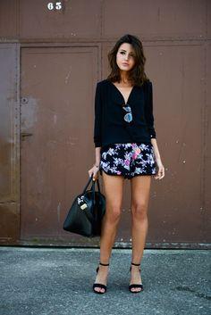 floral black shorts