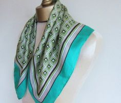 green vintage silk scarf 1960s by fabriquefantastique on Etsy, $17.00