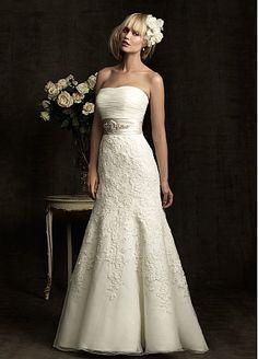 Elegant Exquisite Organza & Charmeuse Strapless Wedding Dress