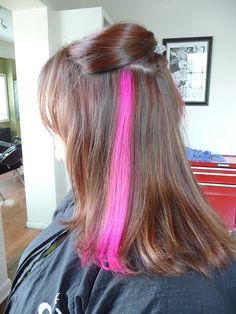 hidden color streaks hair | Rockin' the Pink Streak...