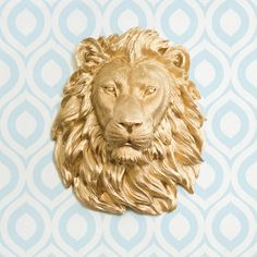 The Saharan in Gold - Faux Lion Head Mounted Fauxidermy Decorative Ceramic Fake Plastic Resin Wall Animal Mount Taxidermy Replica Decor Art