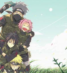 Team 7 -Kakashi Hatake, Sakura Haruno, Sasuke Uchiha, and Naruto Uzumaki