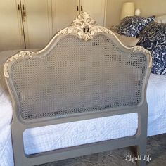 [CasaGiardino] ♛ Caned Headboard painted gray and cream Waxing Painted Furniture, Painting Antique Furniture, French Furniture, Refurbished Furniture, Paint Furniture, Furniture Makeover, Vintage Furniture, Furniture Ads, Urban Furniture