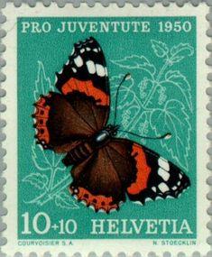 Znaczek: Red Admiral (Vanessa atalanta) (Szwajcaria) (Pro Juventute: Insects, Theophil Sprecher v. Bernegg) Mi:CH 551,Sn:CH B197,Yt:CH 503,AFA:CH 553,Zum:CH J134