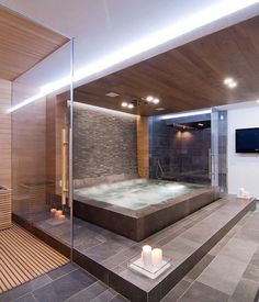 interesting hot tub in bathroom