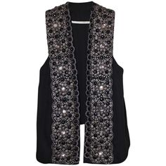 Pre-owned Twelfth St. By Cynthia Vincent Hand Embroidered Vest ($252) ❤ liked on Polyvore featuring outerwear, vests, black, vest waistcoat, draped vest, twelfth street by cynthia vincent and embroidered vest