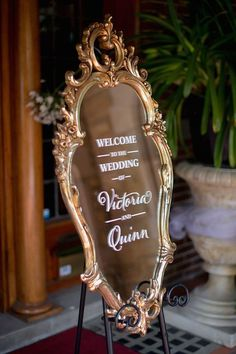 How elegant is this welcome mirror! For more wedding inspiration and styling make sure to follow RC on Pinterest! #weddinginspiration #love #raffaeleciuca