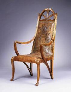 Louis Majorelle / Armchair / c. 1900 / walnut with original leather upholstery / CMOA / gorgeous Art Nouveau chair!