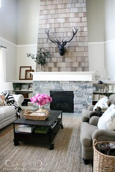 shingles on fireplace