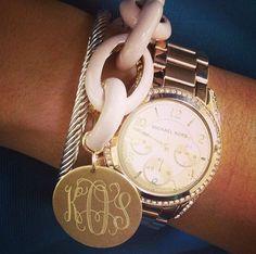 Monogrammed Pale Pink Enamel Chain Bracelet