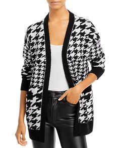 Houndstooth, The 100, Aqua, Blazer, Black And White, Long Sleeve, Sleeves, Sweaters, Jackets