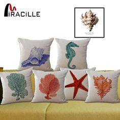 Miracille Ocean Series Marine sea animals sofa throw decorative cushion seahorse seashell starfish coral car cushion No filling. Subcategory: Home Textile. Cushions Ikea, Blue Cushions, Blue Throw Pillows, Decorative Cushions, Decorative Pillow Covers, Throw Pillow Covers, Sofa Throw, Oceans Series, Coral