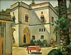 Peinture d'Algérie : Peintre Français, Etienne Bouchaud,(1898–1989), Gouache , Titre : Patio de la villa Abd El Tif, Alger.