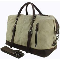 d74f87d7bb Vintage Military Leather Canvas Duffle Bag