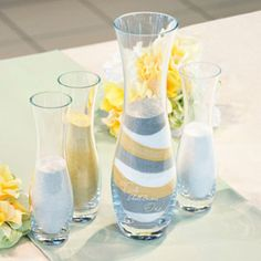 """WeddingDepot.com ~ Two Become One - 4pc. Sand Ceremony Unity Set ~Just as the sand from the three vases are combined, never to be separated again... so shall your love be! Set includes one large, vase engraved with """"Two Shall Become One"""" and three smaller vases."""