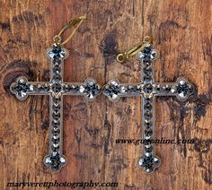 Black Iridescent Crystals on Bronze Cross Earrings