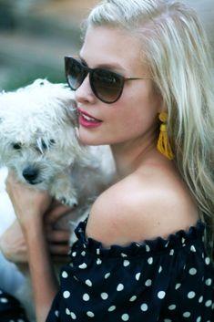 Falling for Polka Dots under $30 - Kinsey Walsh Little Fashion, Love Fashion, Autumn Fashion, Navy Dress, Yellow Dress, Dressy Outfits, Chic Outfits, Yellow Tassel Earrings, Current Fashion Trends