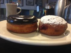 Introducing Vegan Doughnuts! Chocolate and Jelly-Filled (filled w/Raspberry house-made jam). These are just for today (Friday 5-9-14), but once we install a new piece of doughnut-making equipment we'll be doing  doughnuts regularly. #vegan #vegetarian www.veggiegalaxy.com