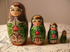 Vtg Original Traditional Russian Nesting Doll Matryoshka Set of 4   eBay