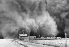 Dust Storm---Palm Sunday, April 14,1935,a day remembered as Black Sunday when the storm swept on its way toward Boise City, Oklahoma. Courtesy of Associated Press