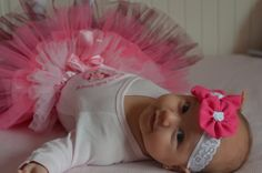 White lace baby headband with  dark pink handmade  flower