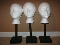 Styrofoam Wig Head Stand Idea - for displaying/fitting crochet hats - - I could make this using dowel rods.