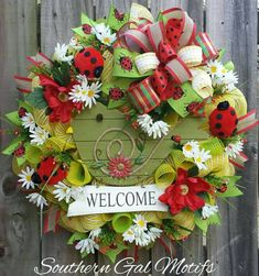 Check out this item in my Etsy shop https://www.etsy.com/listing/496570788/spring-welcome-wreath-ladybug-wreath