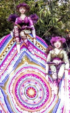 Lilliana-cal with Amerose and Verdana cloth art dolls - Noelene - 2017