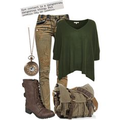 Dystopian Outfit by charlizard on Polyvore featuring Minnie Rose, Pierre Balmain, Hailey Jeans Co., dystopia and postapocalypse