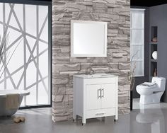 "Monaco 36"" Single Sink Bathroom Vanity Set with Mirror"
