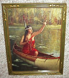 Indian Maiden Prints   OLD PRINT ~ BEAUTIFUL YOUNG INDIAN MAIDEN ~ CANOE ~ GORGEOUS OLD ART ...
