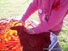 Fingerpainting with warm homemade cornflour paint...a fun sensory experience for a cold day!