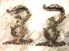 Two Rare Ornate 19th Century Antique French Rococo Chateau Solid Brass Bronze Curtain Tie Back Bracket Hooks by BohoTresChic on Etsy