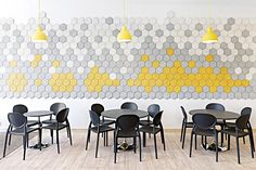Made from wood, wool, cement and water, the Traullit Dekor 'Hexagon' tiles help reduce noise, from Fred International.