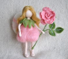 Flower Fairy Waldorf inspired needle felted doll Rose by MagicWool, $54.00