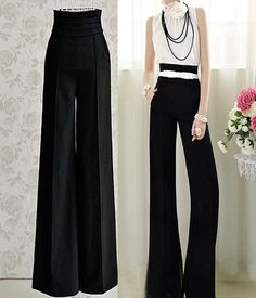 Vintage Women Slim High Waist Flare Wide Leg Long Career Pants Palazzo Trousers